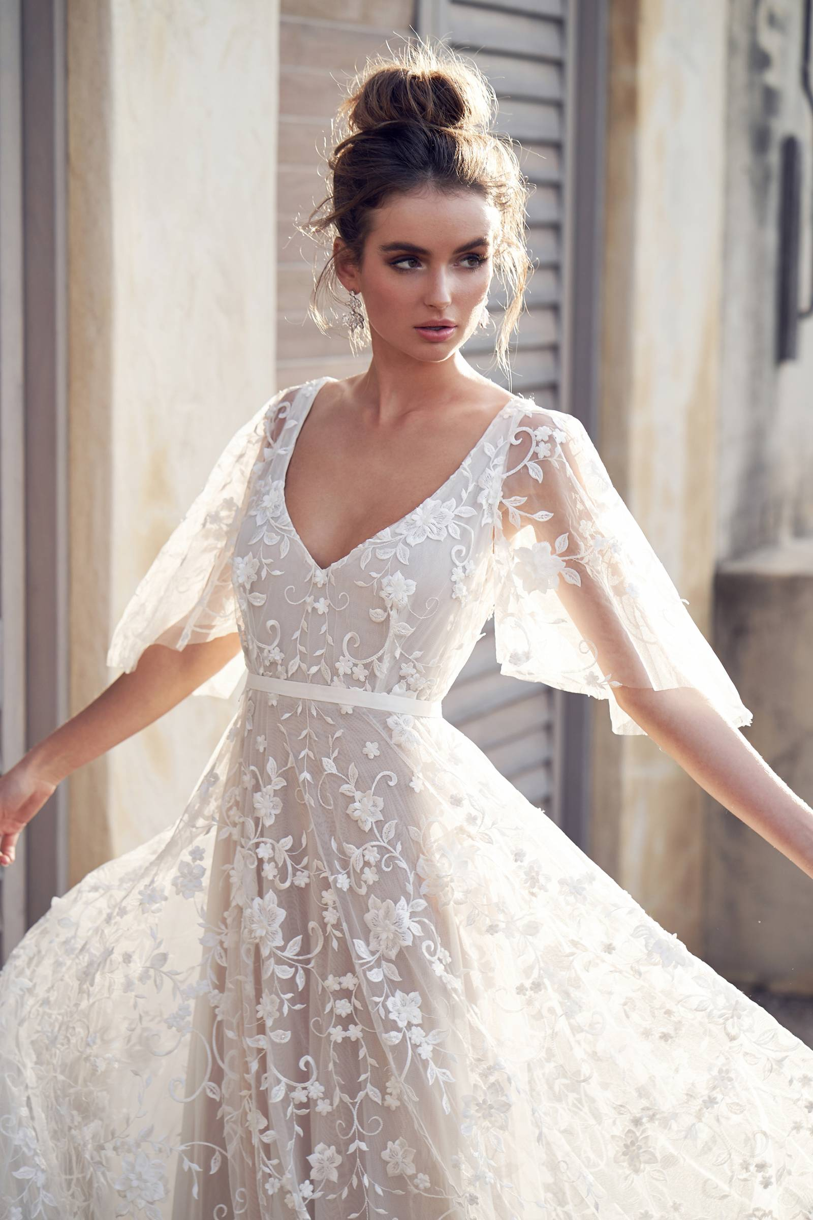 Simple Crepe Wedding Dress with Cross-Back - Martina Liana