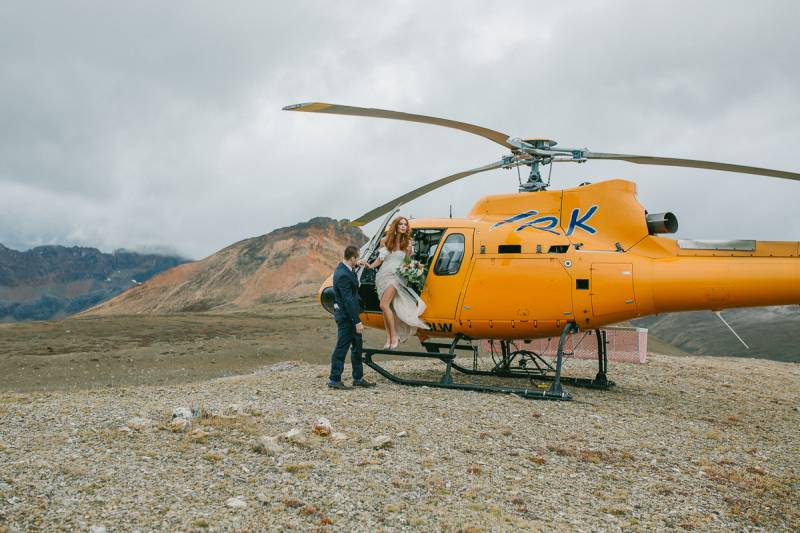 Rocky mountain helicopter wedding