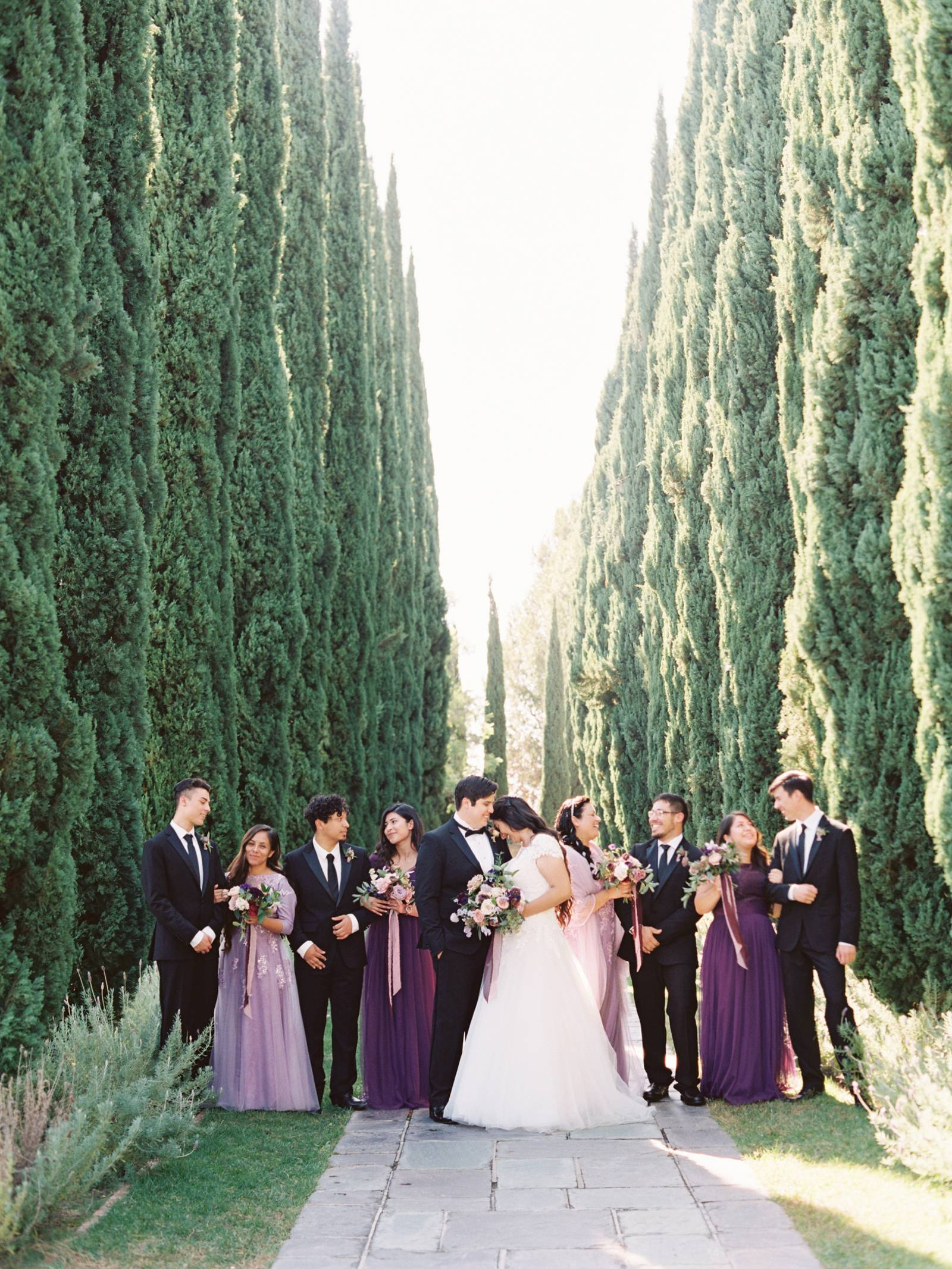 Greystone Mansion Wedding In Rich Plum Berry Tones Beverly Hills Real Weddings Gallery Item 15