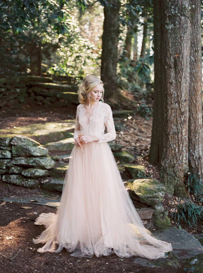 Romantic Garden Wedding Inspiration With A Pale Peach Gown