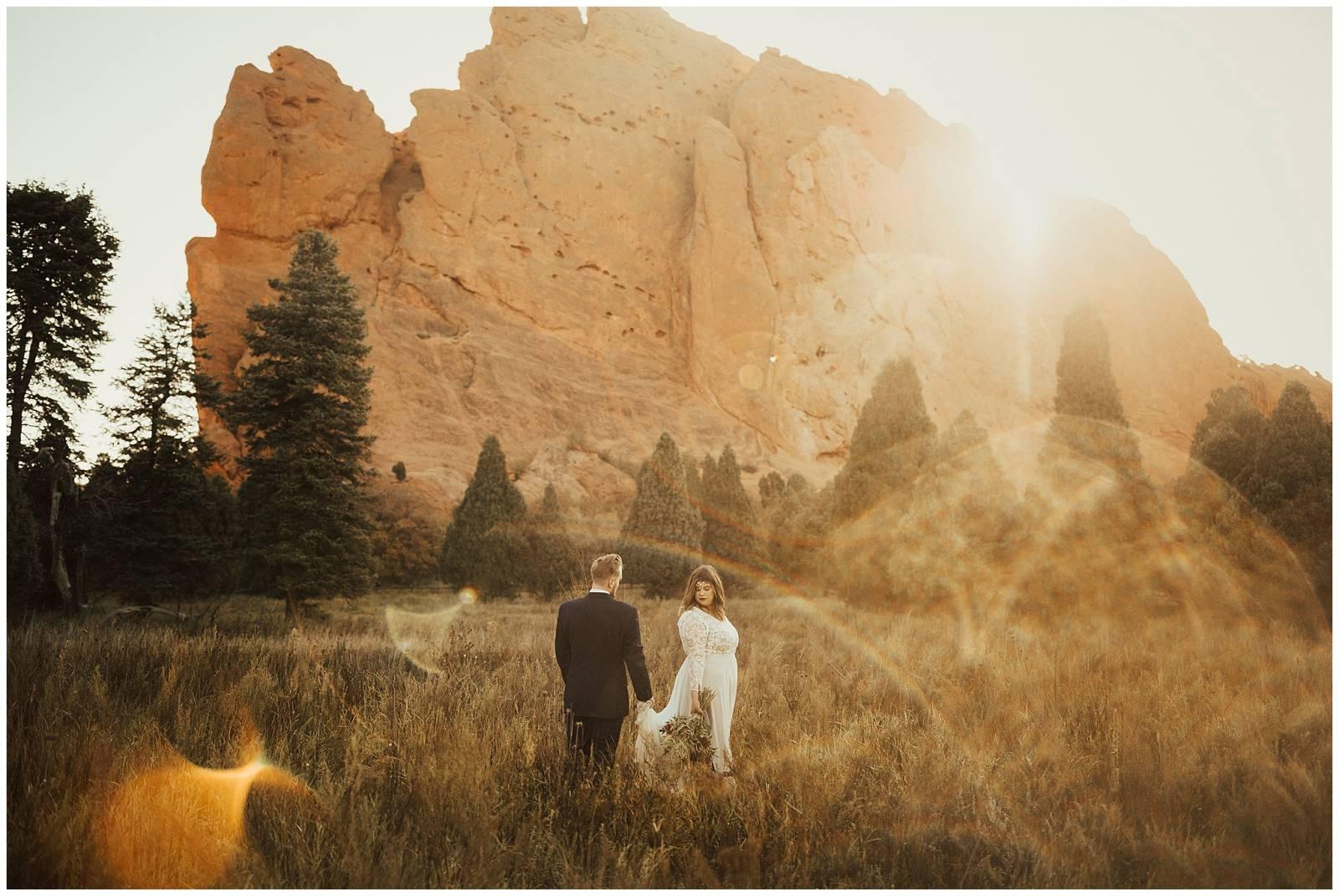 Garden Of The Gods Sunset Wedding Colorado Springs Real