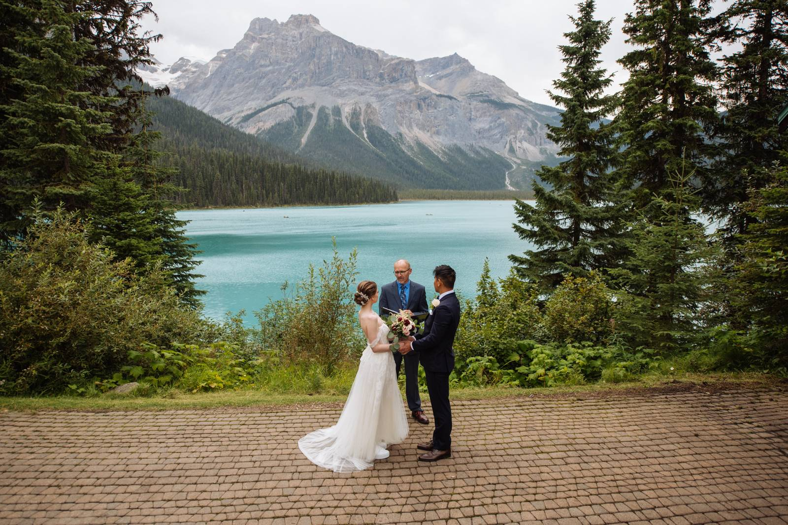 Emerald Lake elopement ceremony