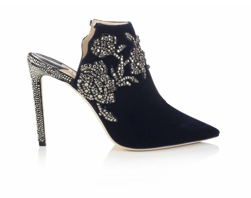 b5d92d821fb0 The Caroline 100 navy velvet mule with peony crystal embroidery is what  fierce feminine dreams are made of. The matching Rachel Flat is a perfect  ...