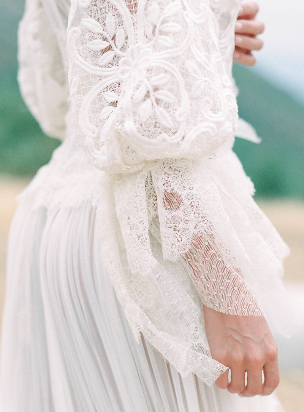 vintage lace European wedding dress details