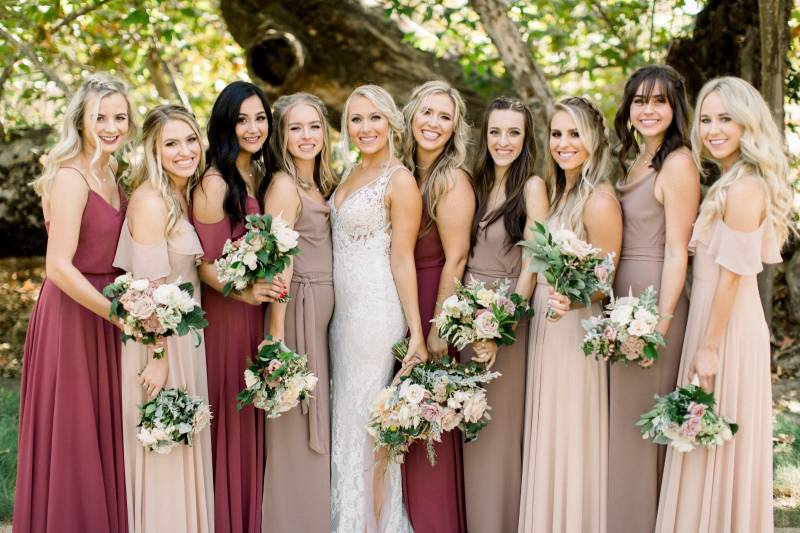 bc5d4332d41 Mismatched dresses work especially well with a large bridal party.