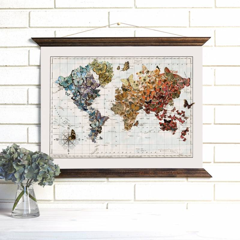Wedding gift idea vintage maps san francisco gift registry we especially love the world map covered in colorful butterflies a perfectly unusual wedding gift for the globe trotting couples out there gumiabroncs Image collections