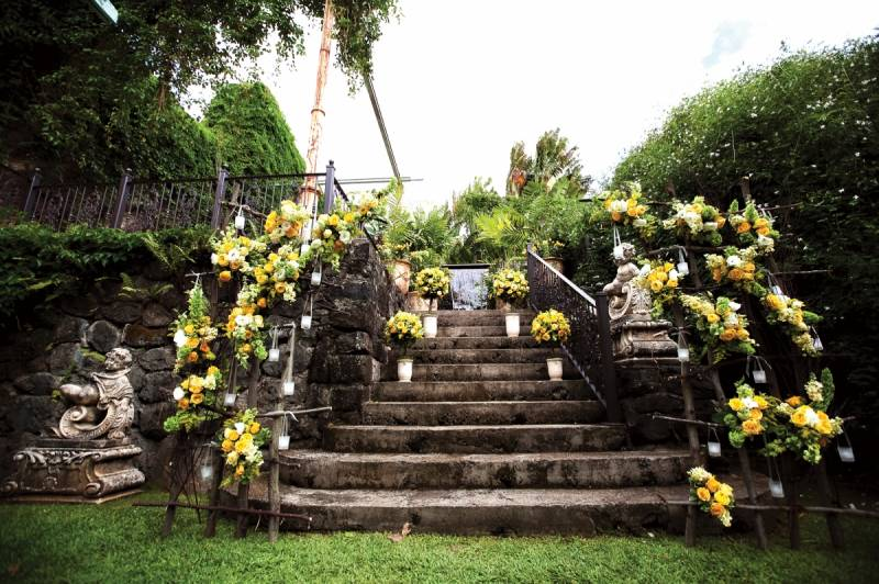 Bridesmaids Wore Sunny Yellow Dresses Each Of Their Own Style And Carried Smaller Versions The Bridal Bouquet