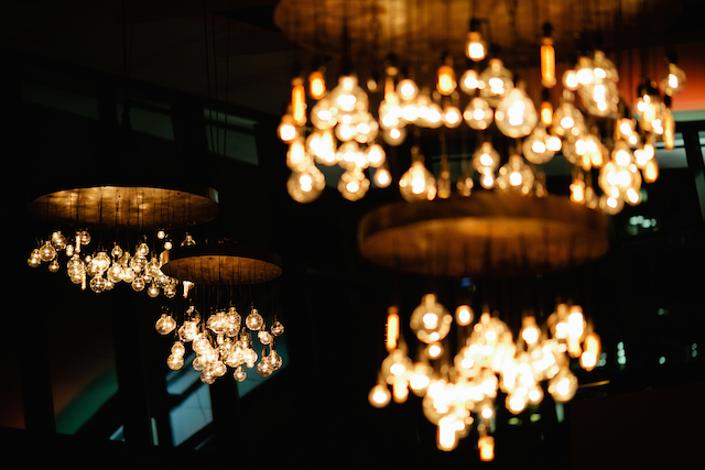 The event hall at country music hall of fame statement chandeliers the retro chandeliers are to die for aloadofball Gallery