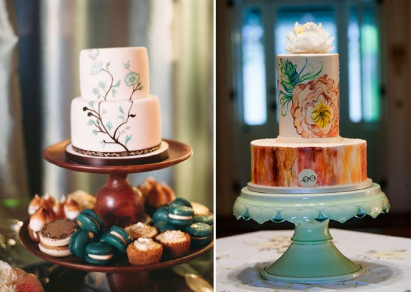rustic painted wedding cakes