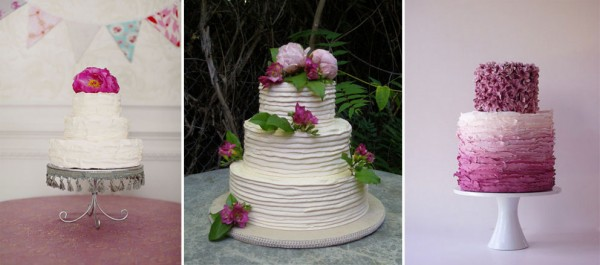 highly textured wedding cakes with bright flowers