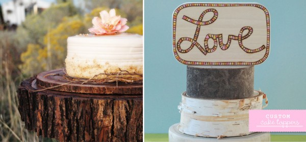 wooden cake stand and topper