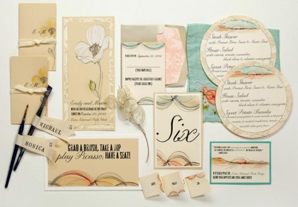 Elegant Magnolia Themed Hand Painted Wedding Invitations