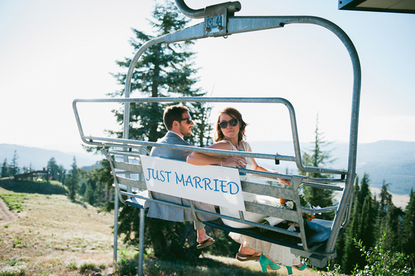 Chairlift ride wedding
