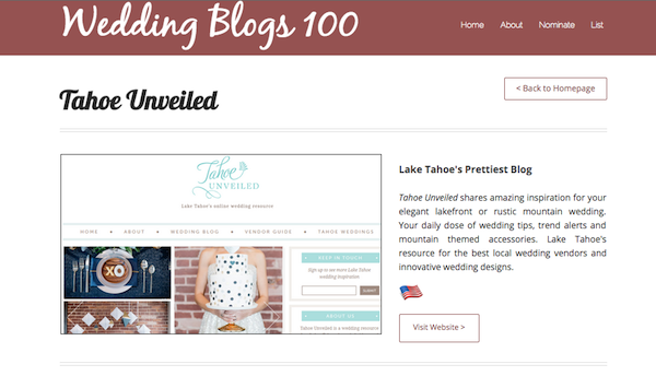 top 100 wedding blogs tahoe unveiled