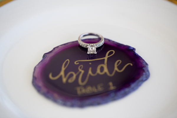 Amethyst crystal place cards