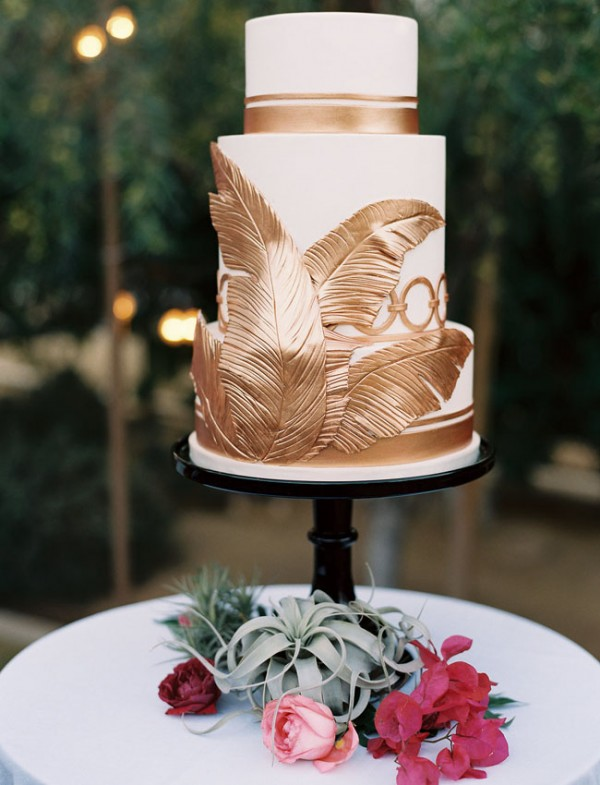 gold leaf palm cake