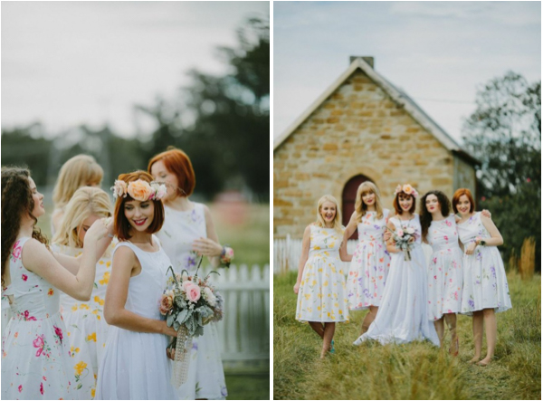 Floral Brides Maids Dresses