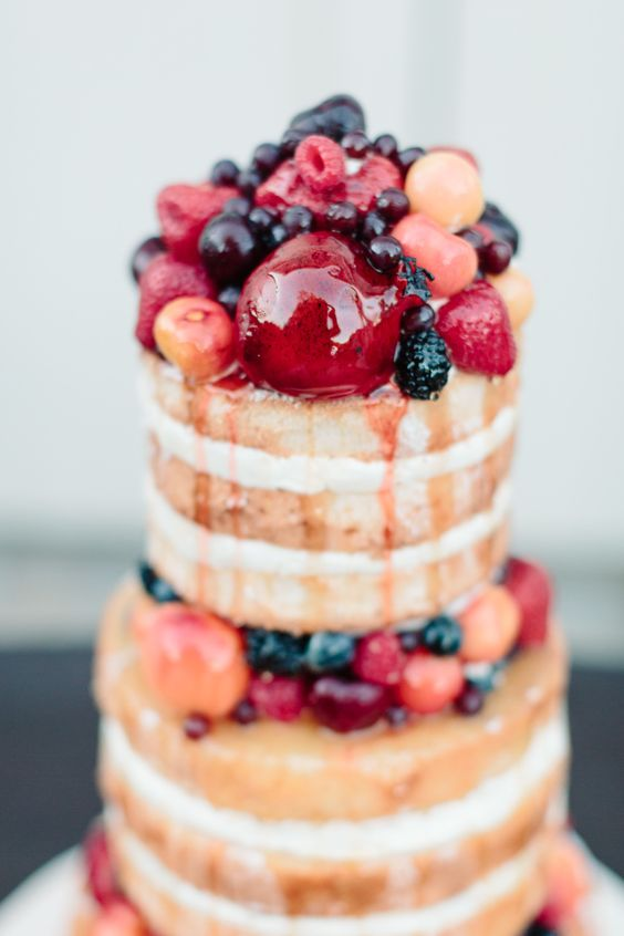 Simple Wedding Cakes with Fruit