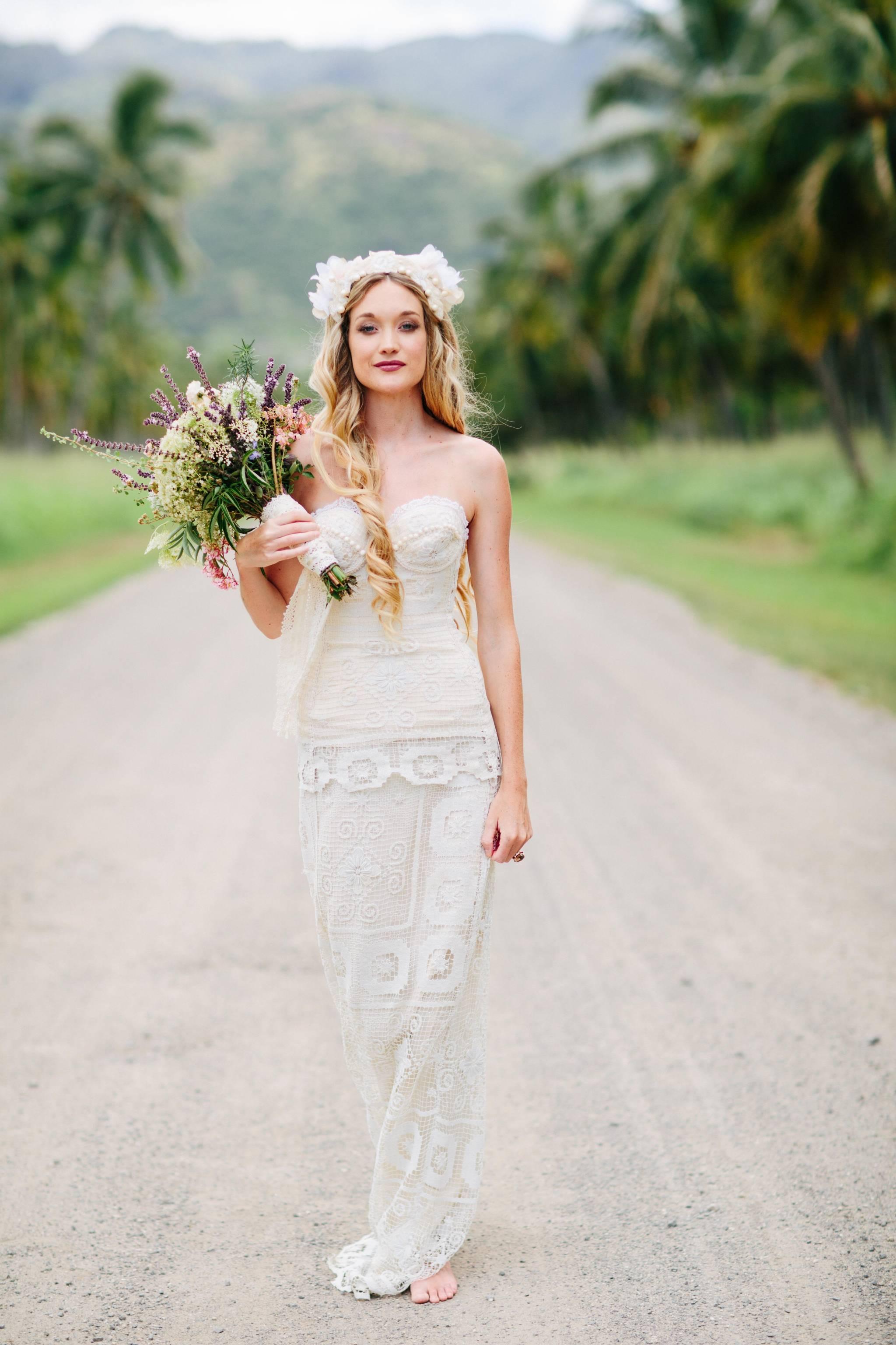 Hawaii Bohemian Bridal Fashion   Haleiwa Wedding Gowns