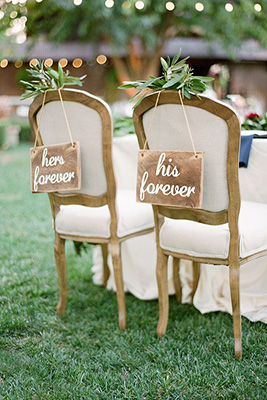 his hers signs, chair signs, sweetheart table, head table ideas