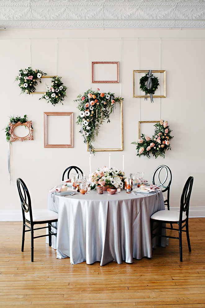 flower wall, rose gold, copper