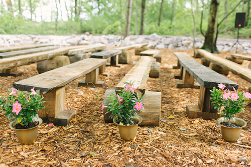 ceremony seating, wood benches, ceremony, woods wedding
