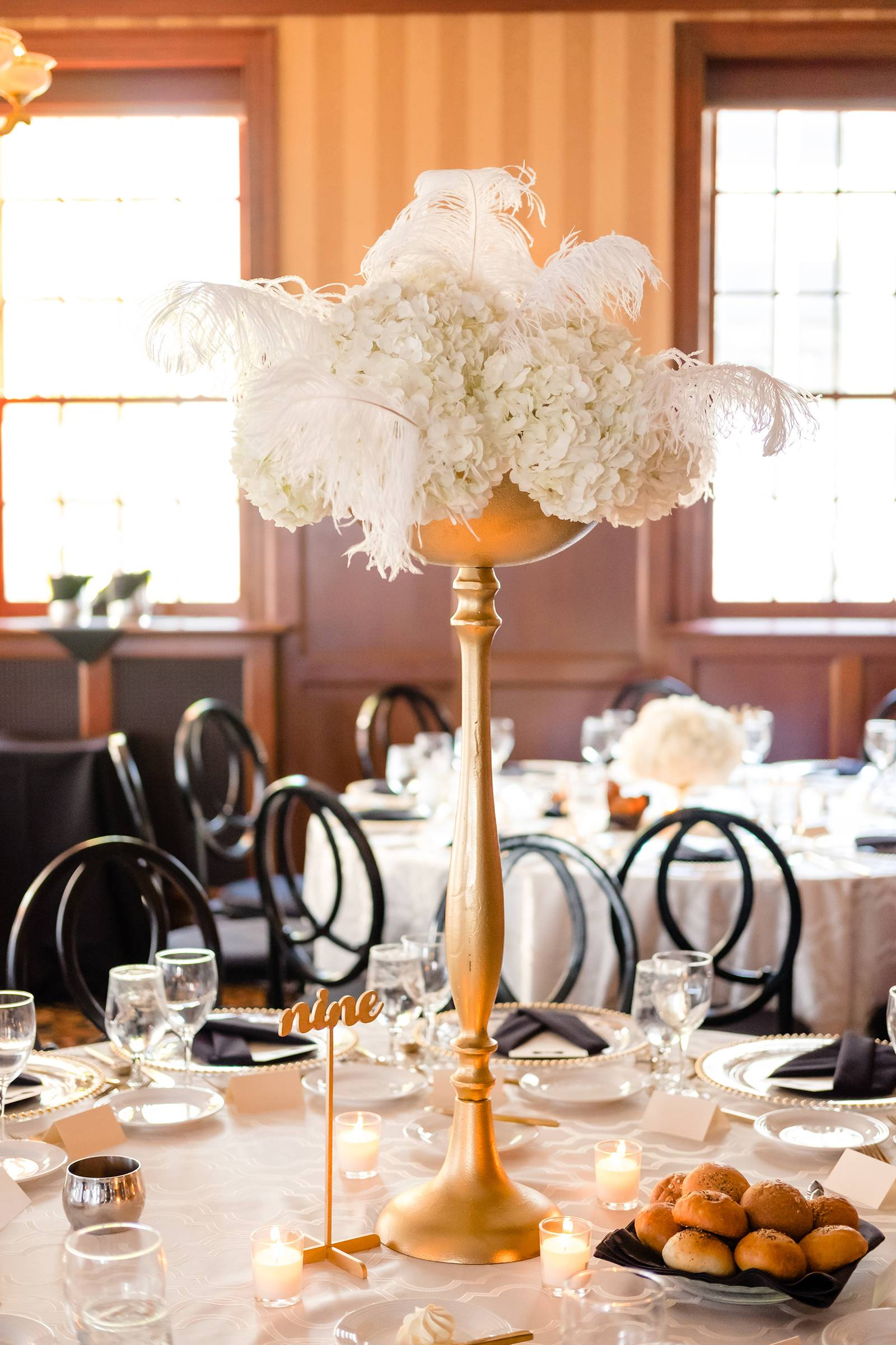 white centerpiece, centerpieces, old hollywood glam gatsby wedding design, feather centerpieces, gol