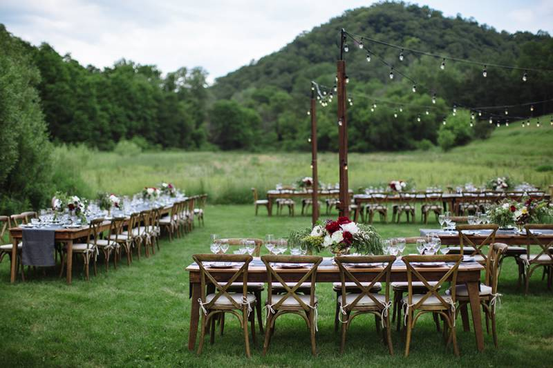 reception layout, wood harvest tables, french country chairs, cafe lighting, kings table, outdoor re