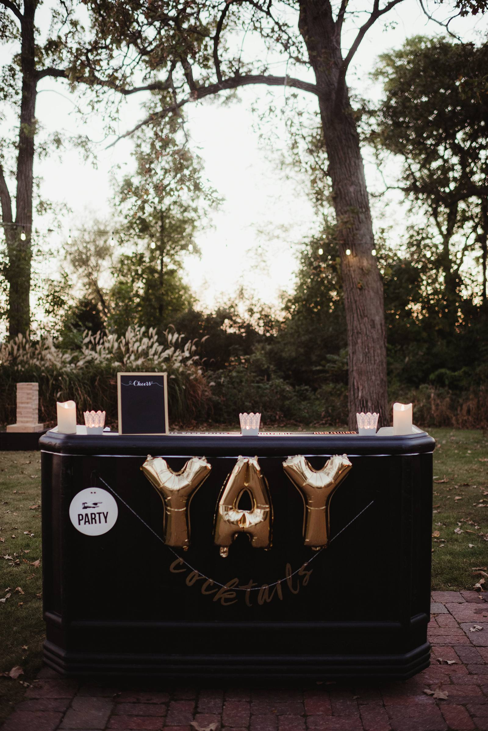 wedding bar, bar, cheers, outdoor reception bar