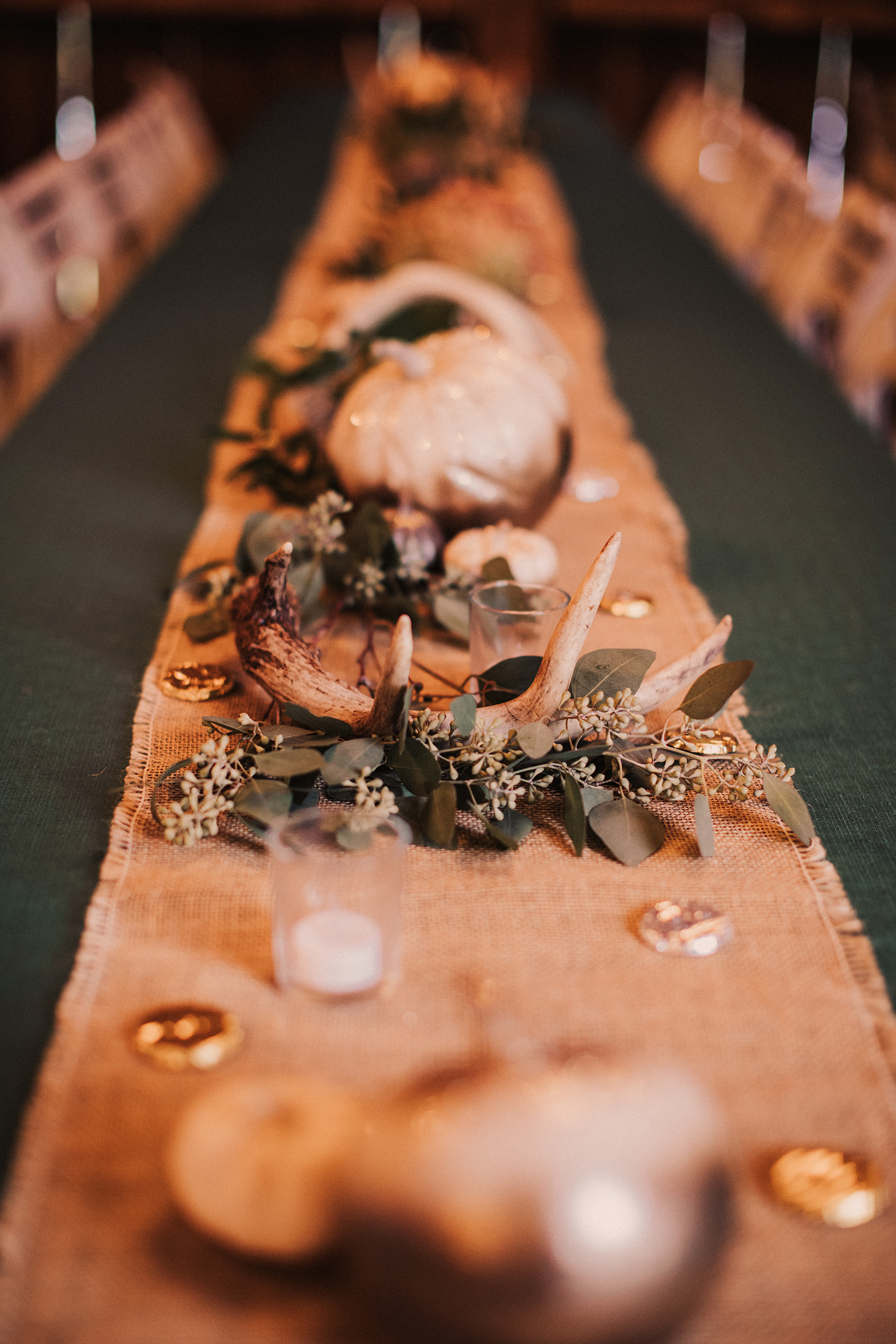 wedding table runner, wedding greenery, fall wedding decor, deer antler decor, pumpkin decor, barn w