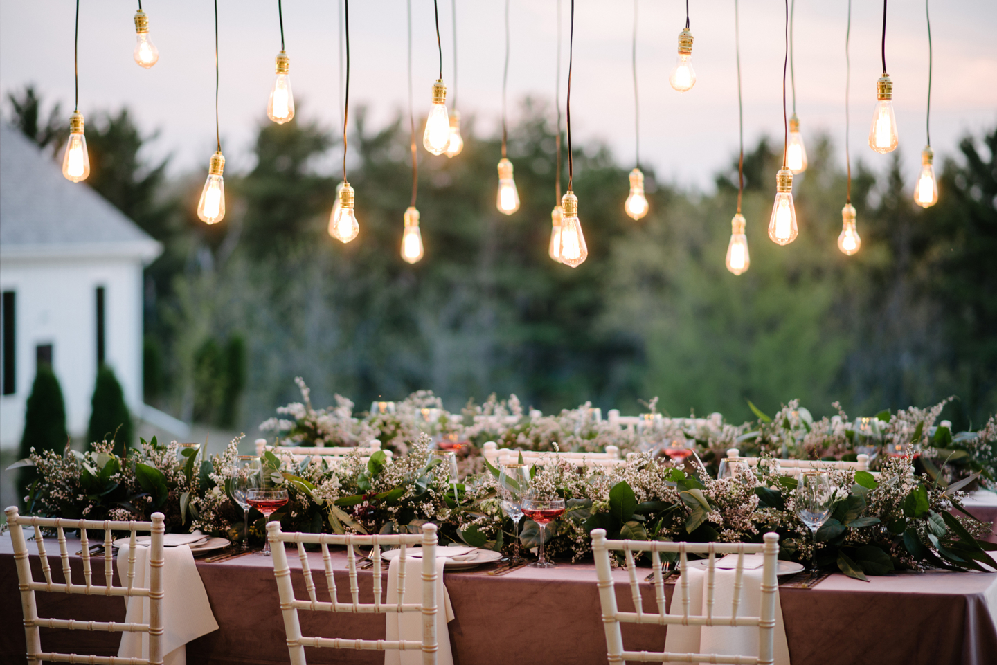 cafe lighting wedding reception table decor