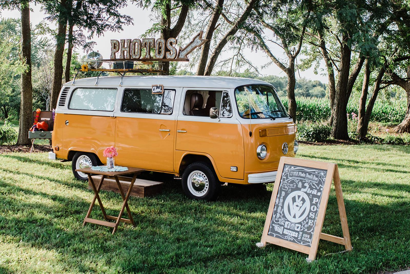vintage hippie woodstock vw photo booth bus