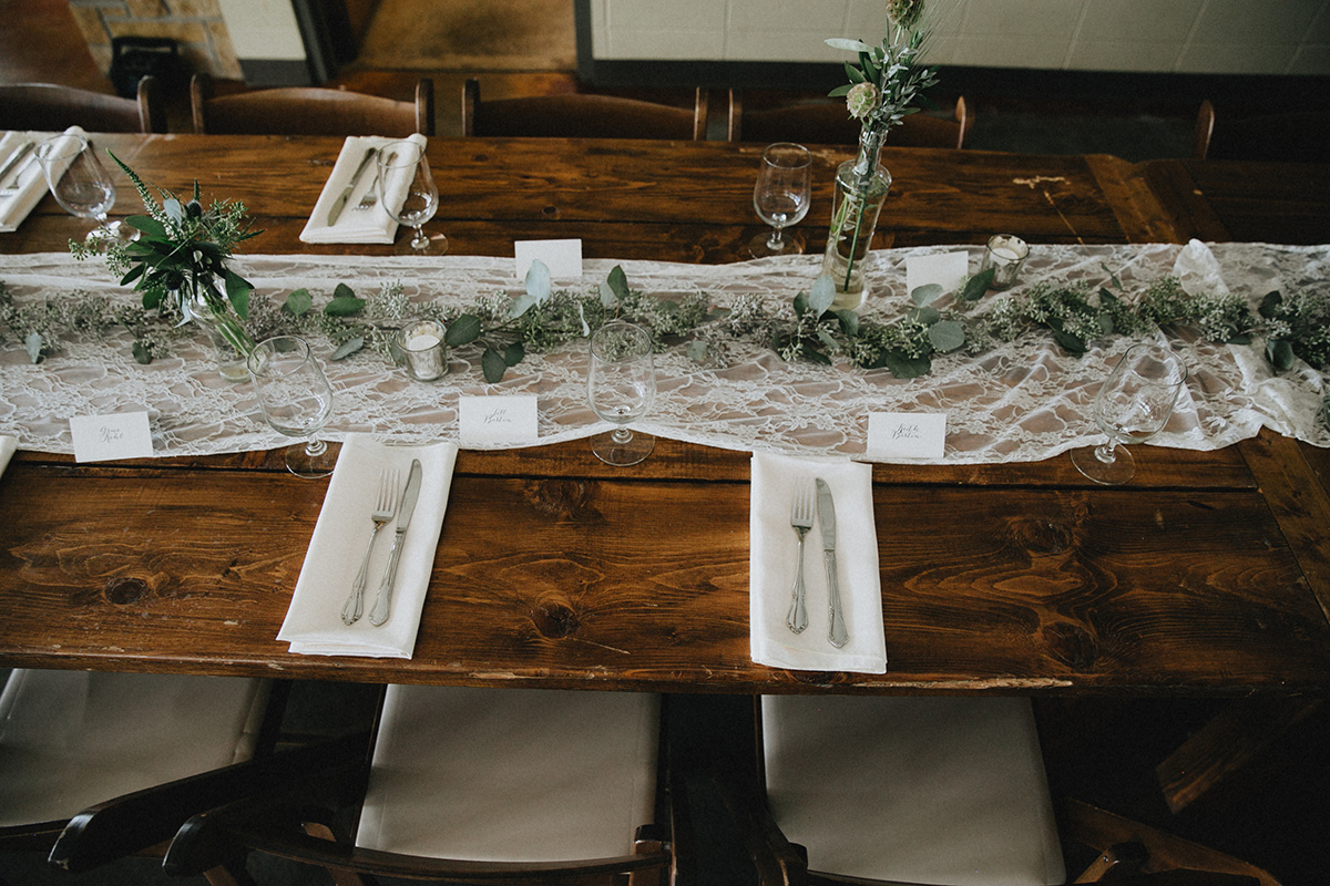 reception harvest table greenery centerpieces