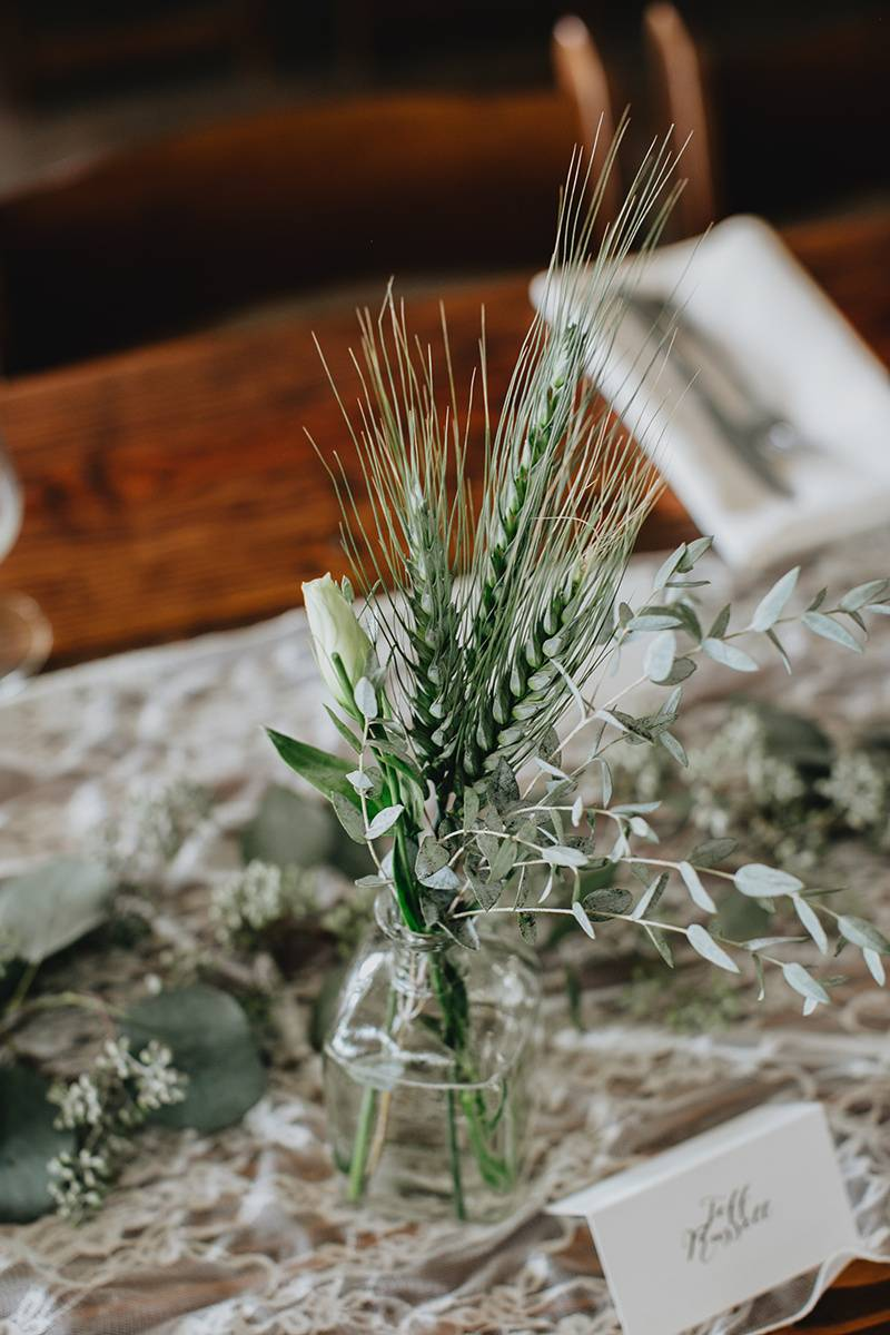 simple organic greenery centerpieces