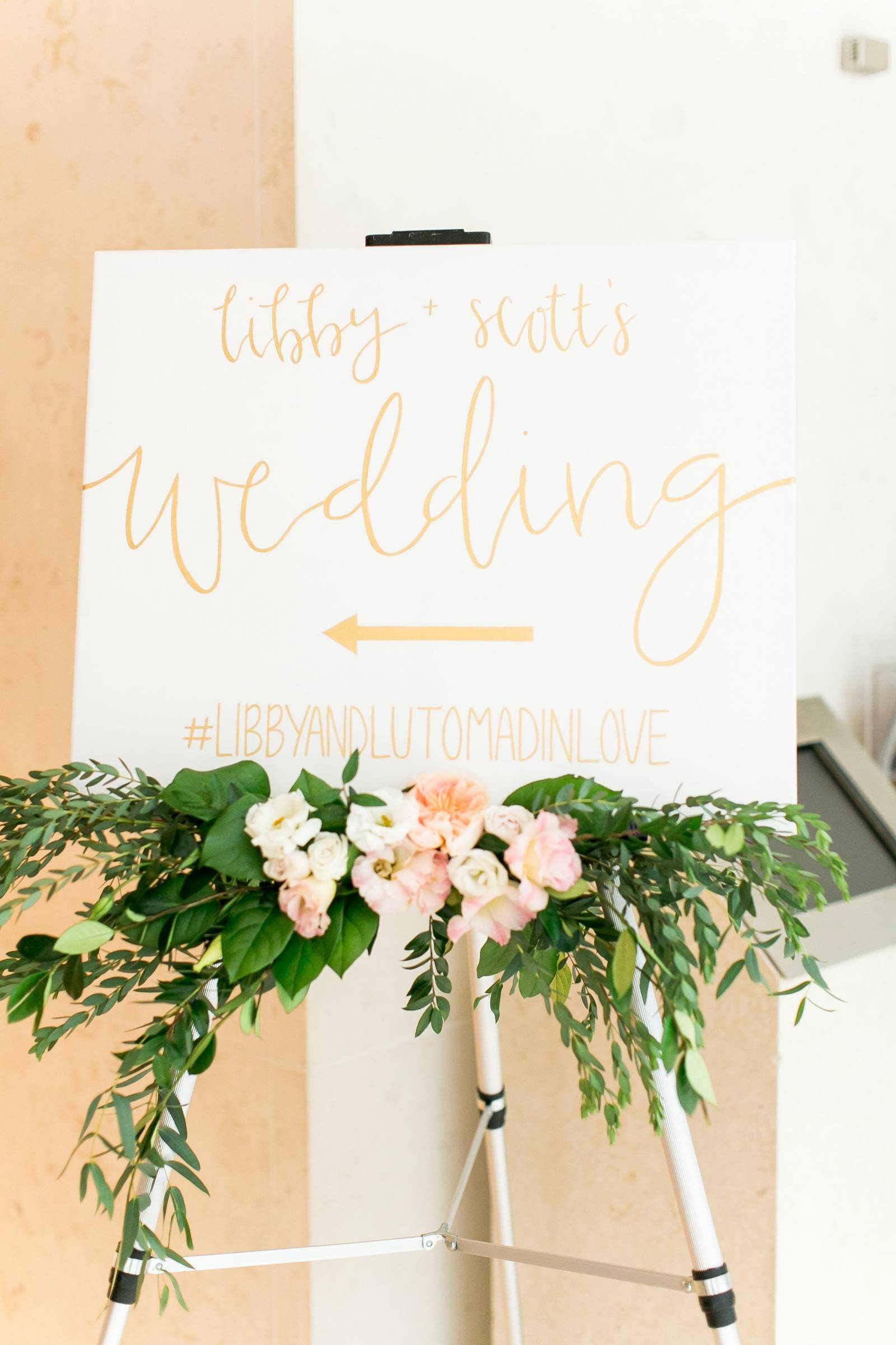 wedding sign, signage, sign floral greenery