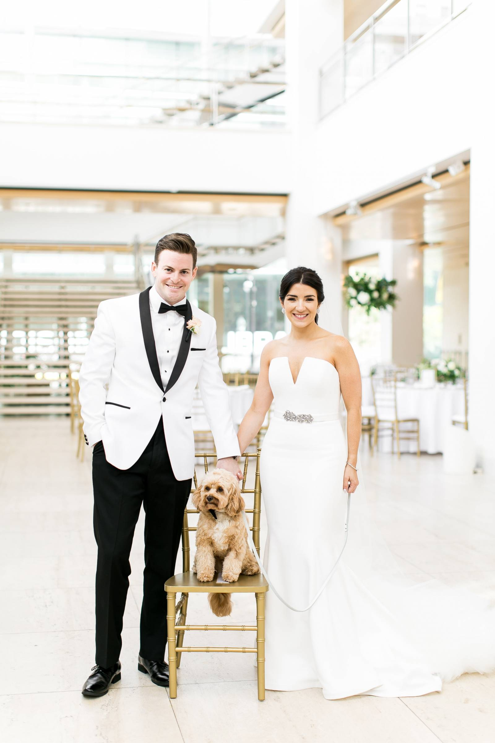 dog friendly wedding, elegant overture center wedding reception