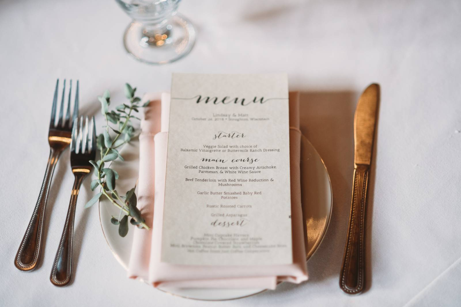 blush calligraphy wedding menu table setting