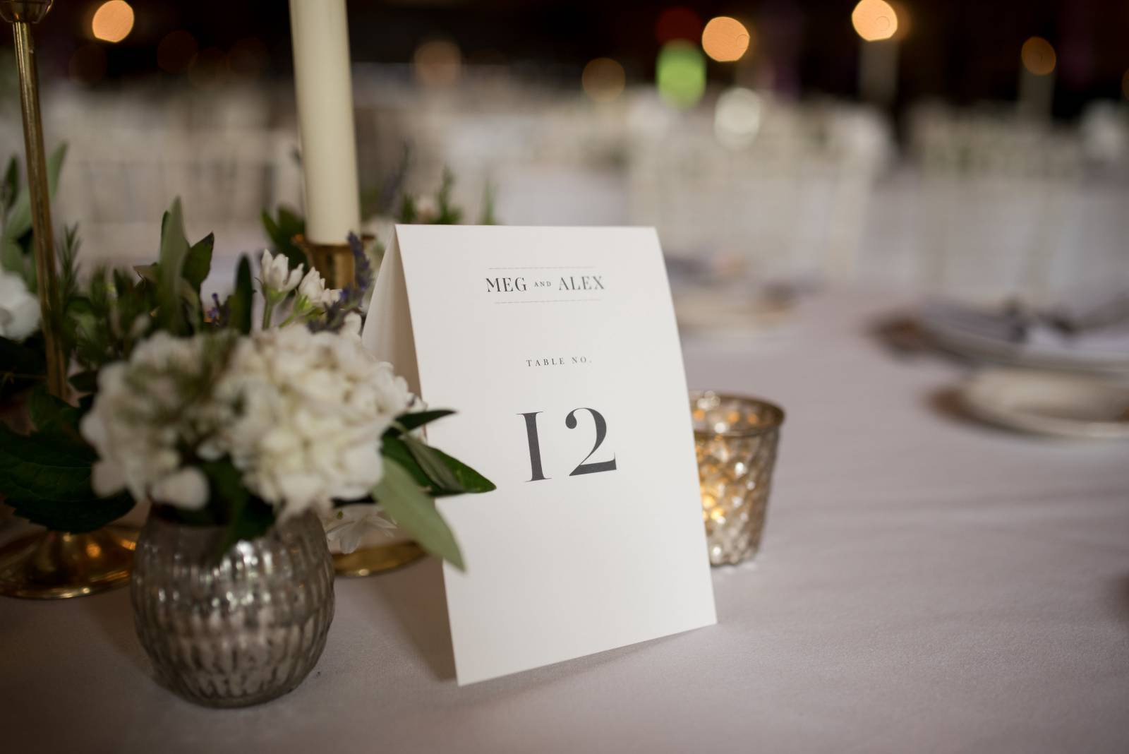 white classic wedding table numbers