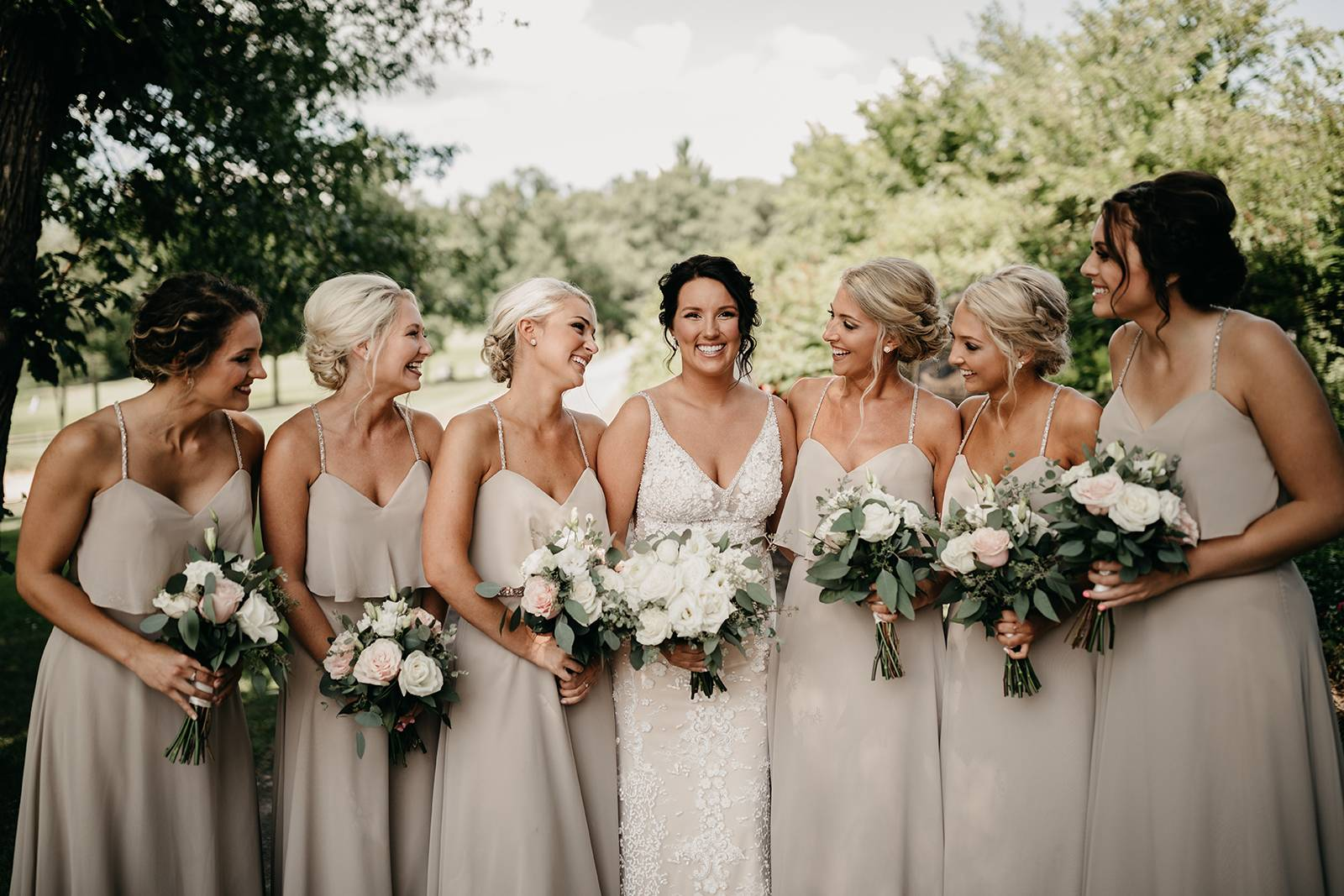 summer neutral muted taupe bridesmaid dresses gowns