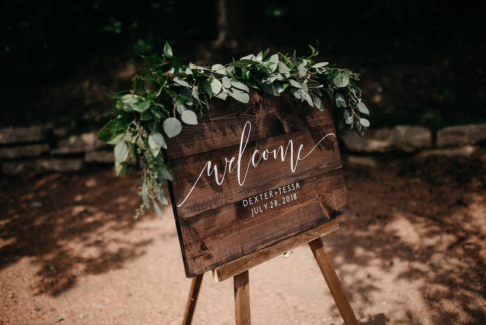 calligraphy welcome wedding sign greenery