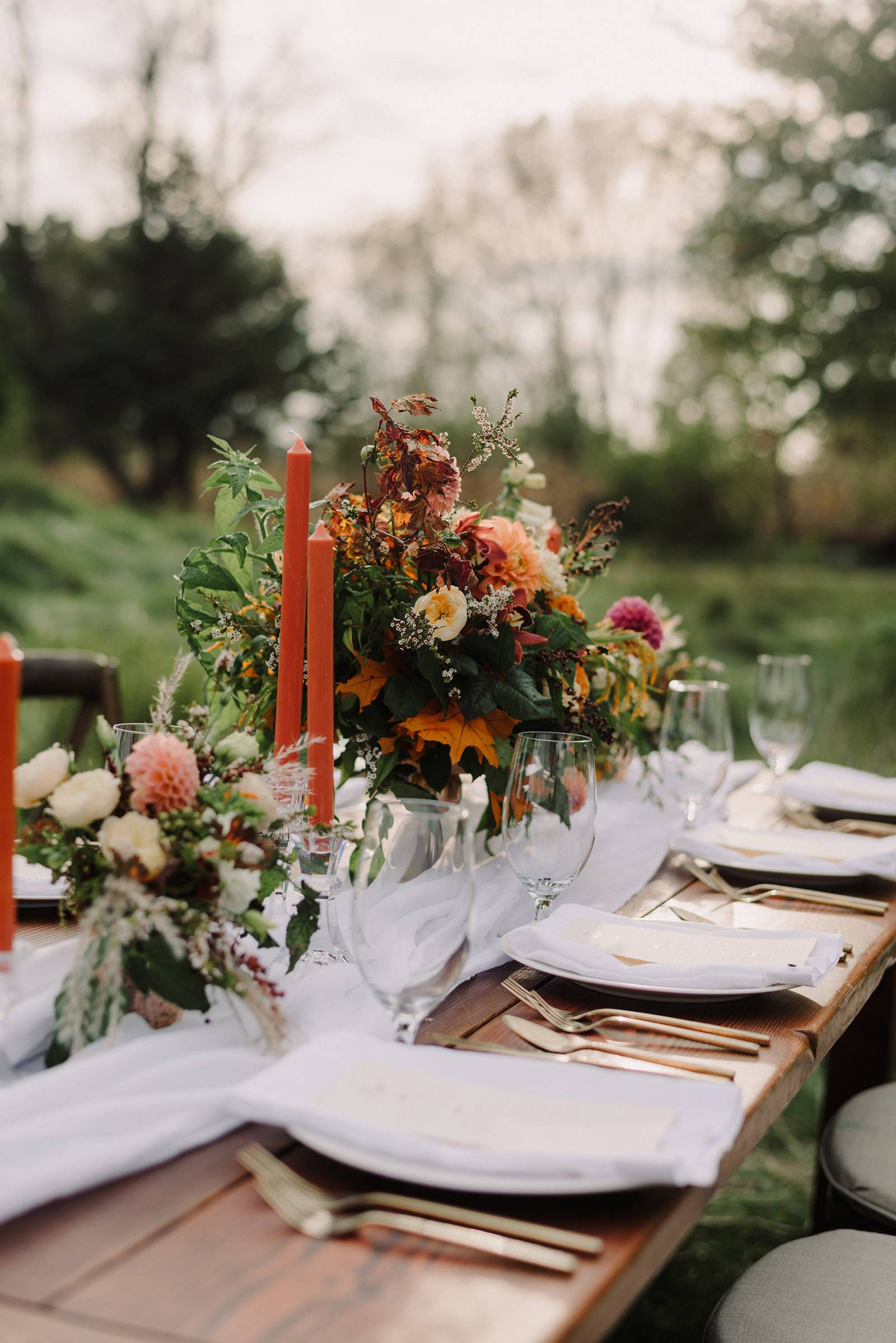 fall autumn orange peach blush wedding reception table settings