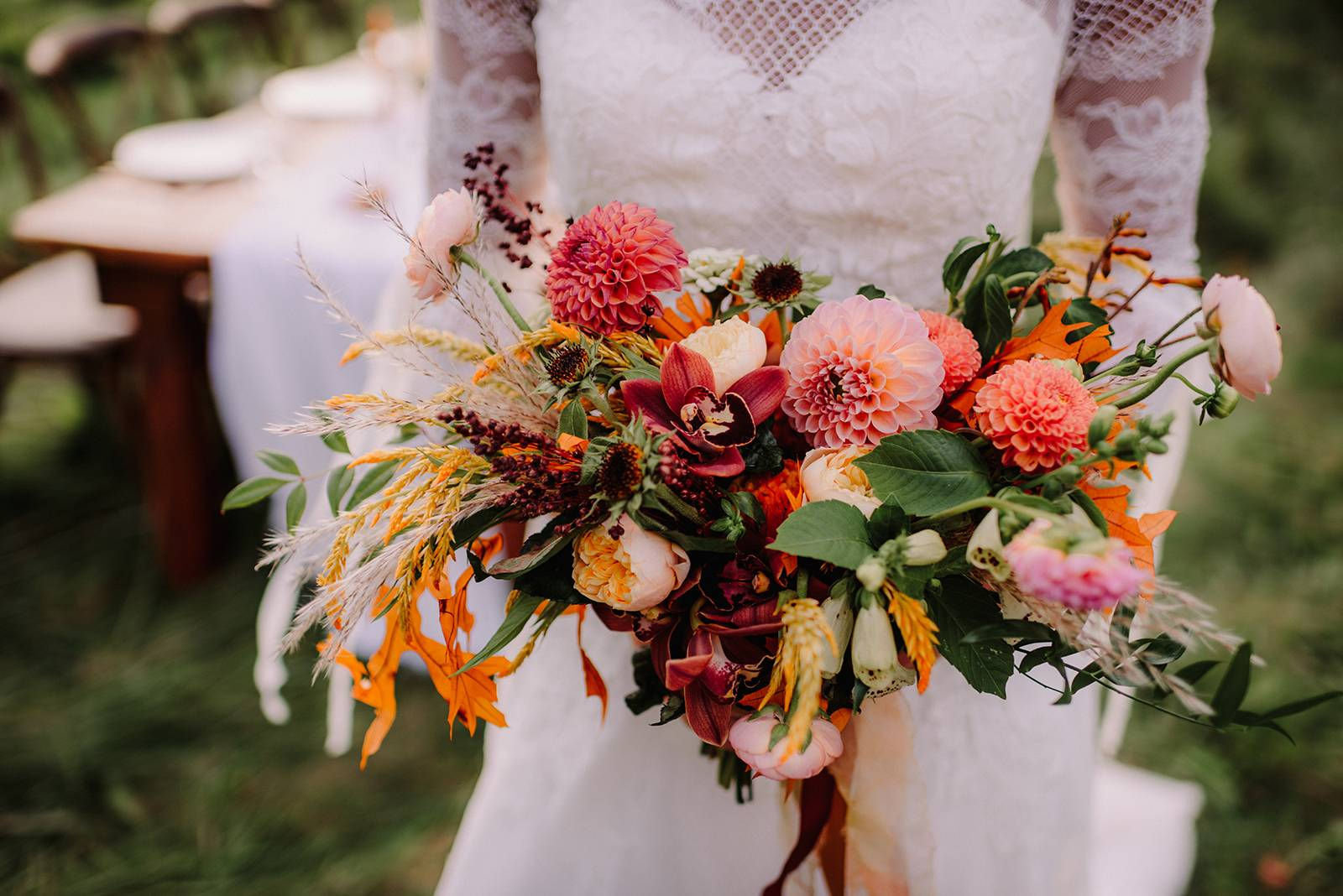 fall autumn bridal bouquet blush pink peach orange texture flowers