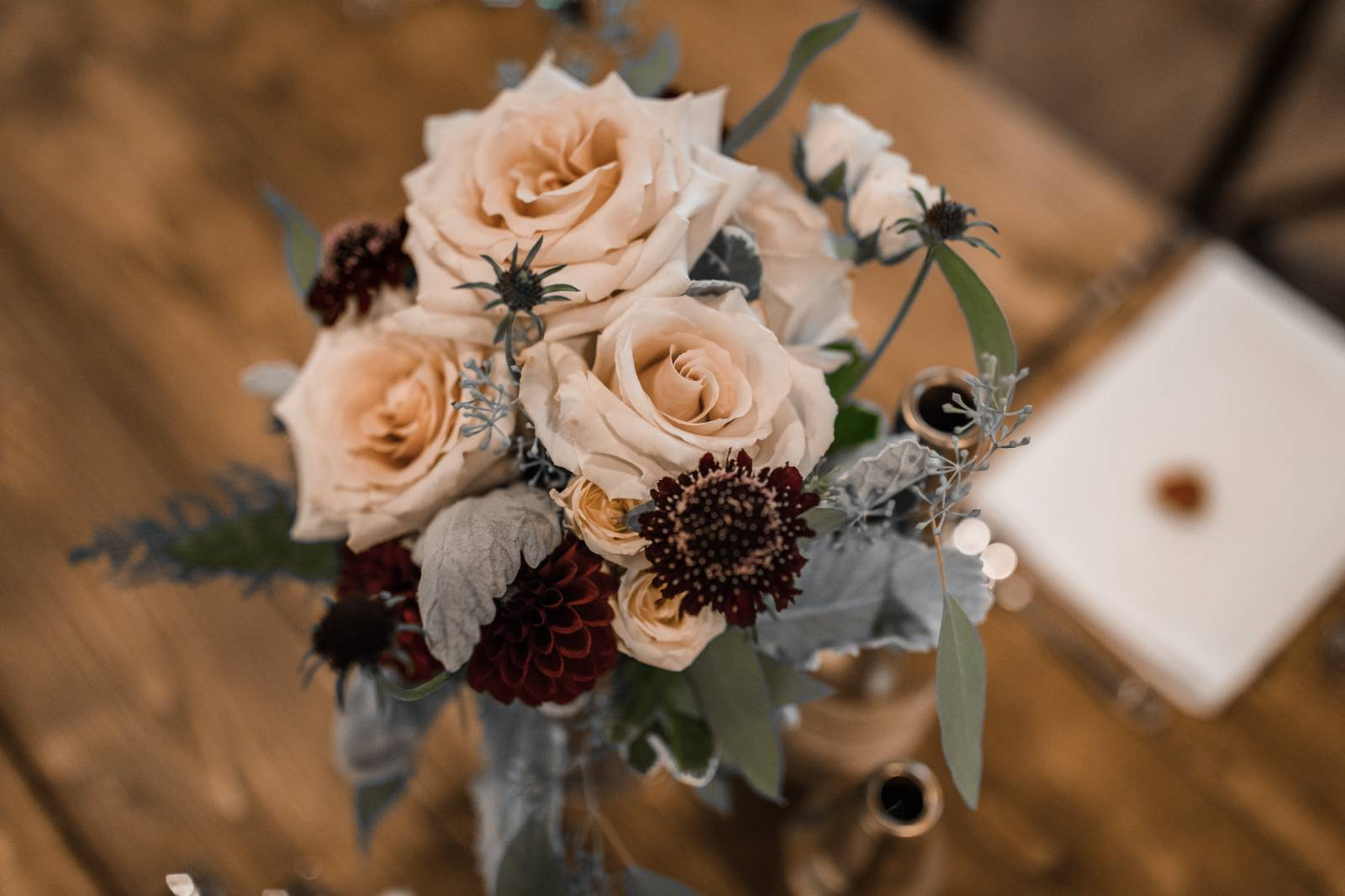 blush peach marsala burgundy flower centerpieces