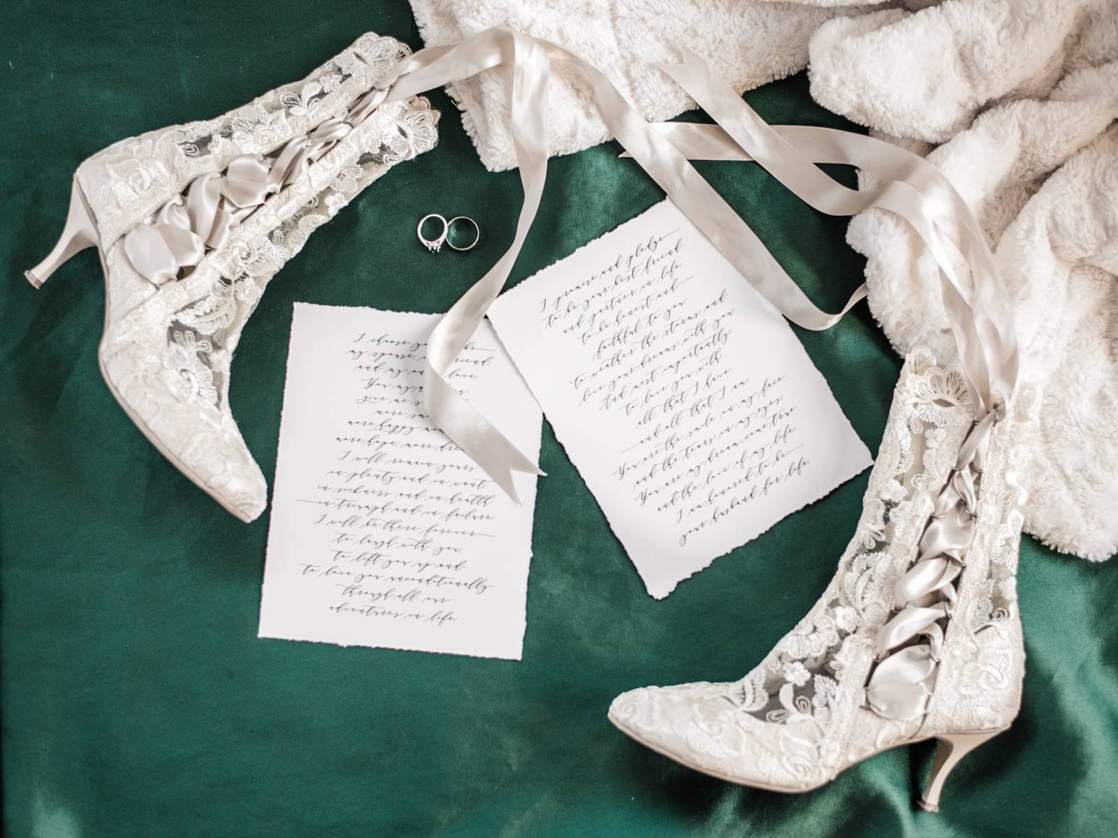calligraphy vows, lace boots, shoes