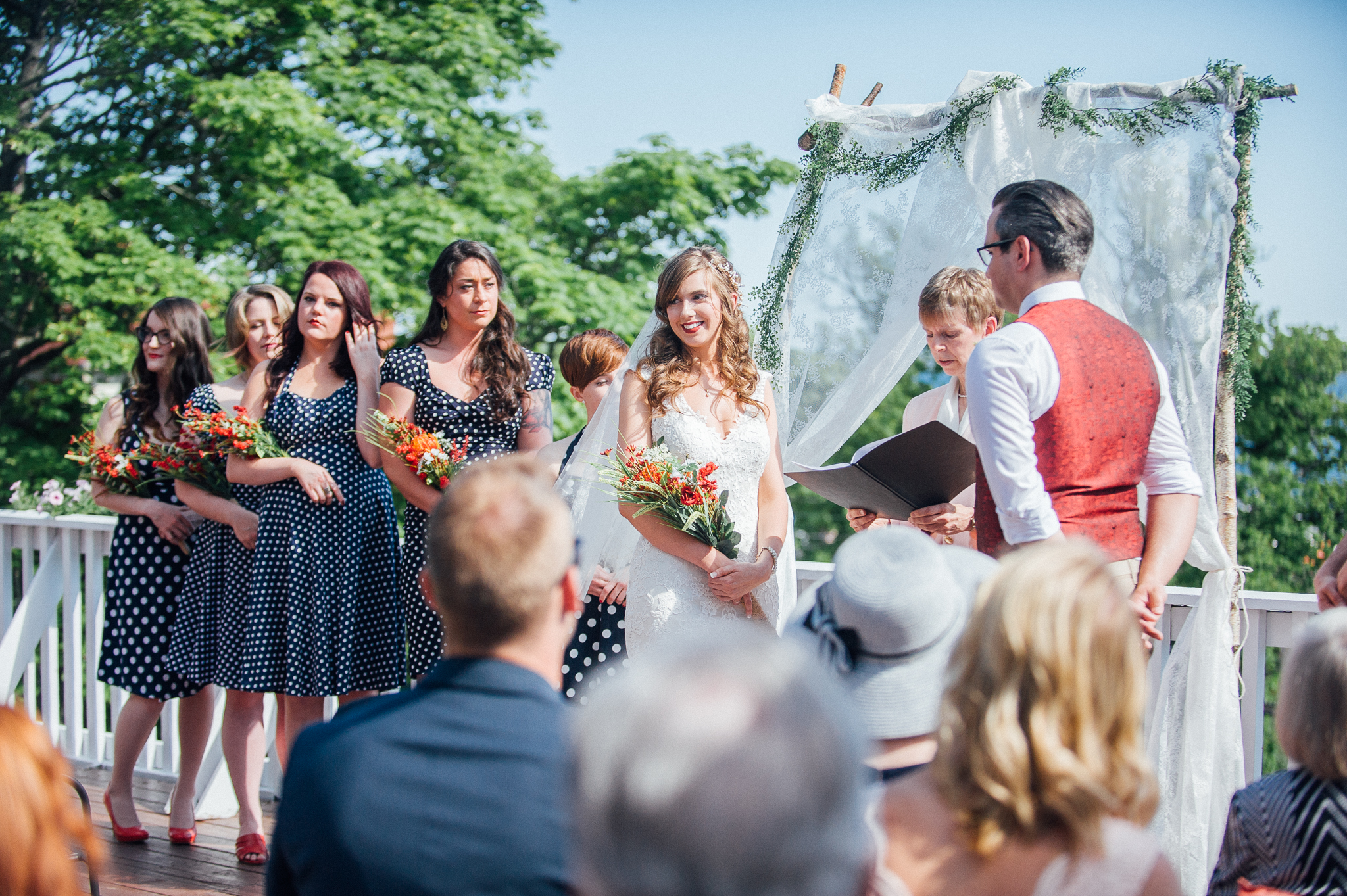 Rustic and nautical wedding in lunenburg nova scotia nova the couple used the colours of reds blues and golds and combined them with buoys lanterns rope and stripes to give their wedding lots of nautical charm ombrellifo Choice Image