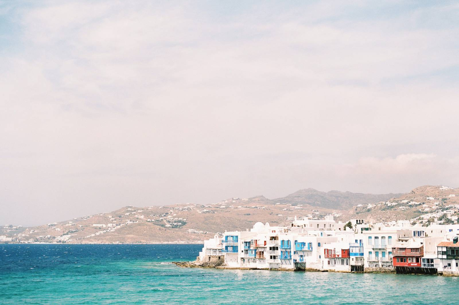 a panoramic view of Little Venice in Mykonos Greece