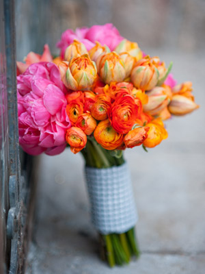 magenta, peach and coral bouquet