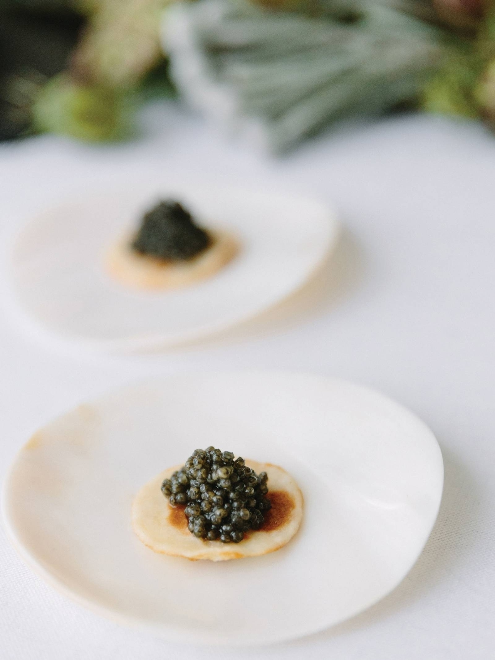 caviar appetizer on white china