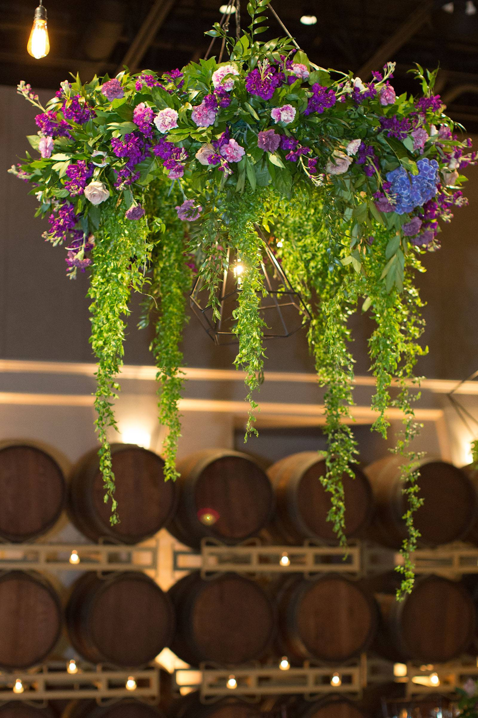 Lavender and violet hanging floral arrangement