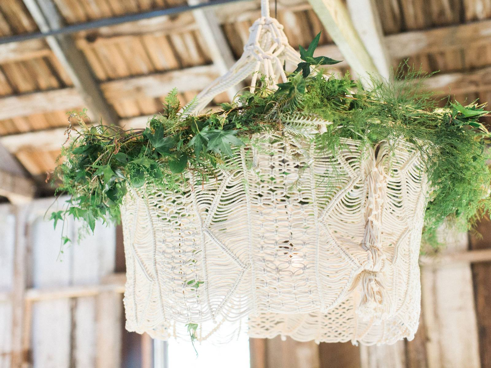 macrame chandelier with greenery
